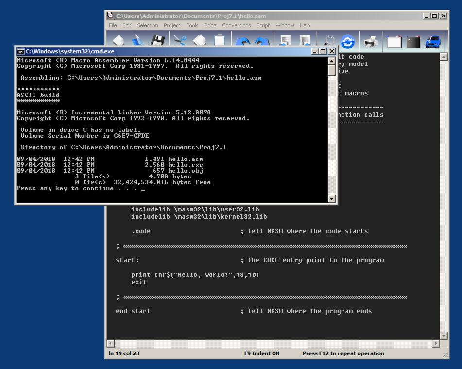 Proj 7  Using Masm32 to Run x86 Assembly Code (20 pts)